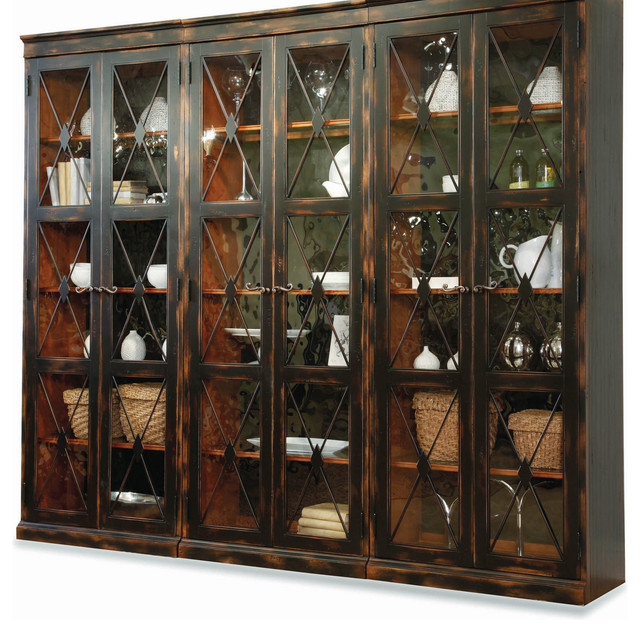 Hooker Furniture Living Room Sanctuary Two-Door Thin Display - living room display cabinets