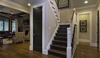 dark wood staircase with white wood railing - Traditional ...