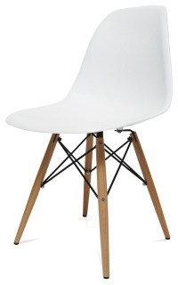 Mid Century Modern Wood Leg Side Chair White - Midcentury ...