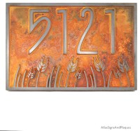 "Wheat Field Address Plaque 12"" x 8"" In Iron Rust - Arts ..."