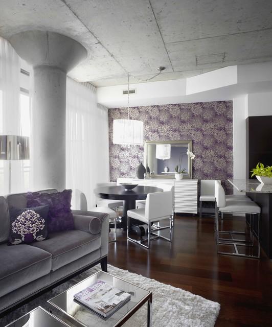 Morrison living room\/dining room, Interior Design Toronto - purple and grey living room