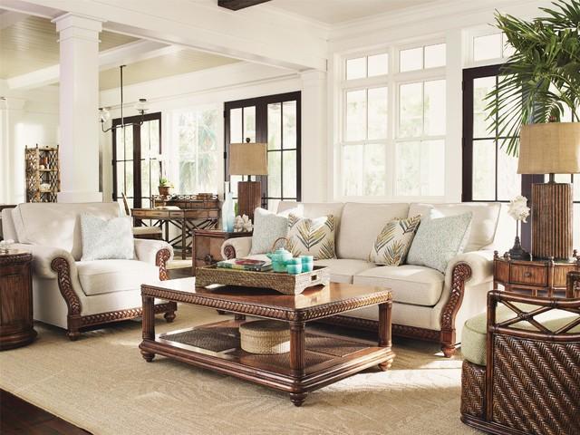 Tommy Bahama Home Bali Hai Shoreline Sofa - Tropical - Living Room - tropical living room furniture
