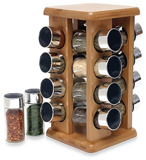 Buydealsnow Rotating Bamboo Spice Rack With Plastic