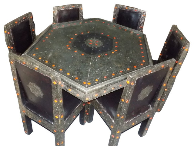 6 Chair Moroccan Octagonal Table Silver Arabesque Engraved