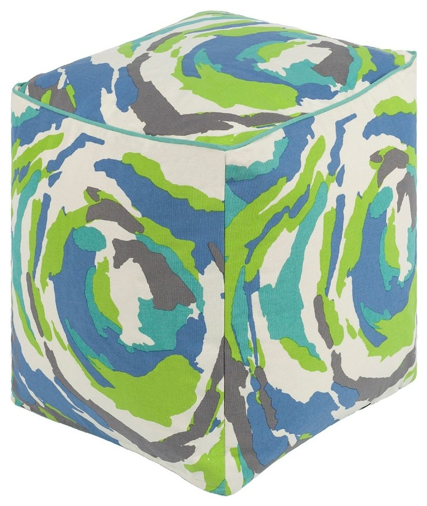 Pouf Mint Contemporary Technicolor Rectangle Mint Teal Pouf Ottoman