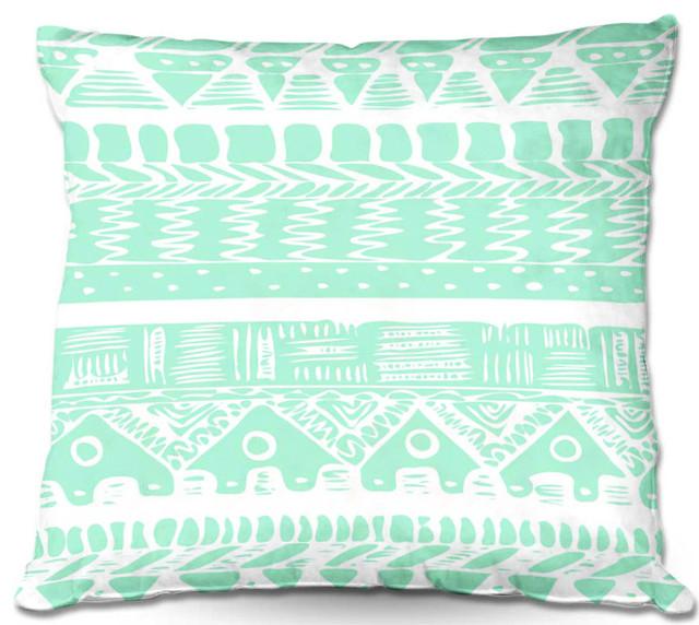 Dianoche Outdoor Pillows Boho Mint Aztec Contemporary