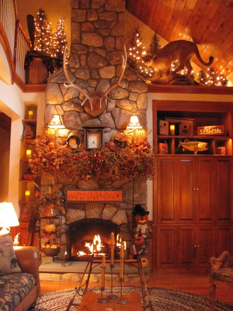 Rustic Family Room Autumn Living - Traditional - Family Room - Boston