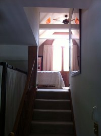 How to close off a bedroom doorway at the top of a staircase?
