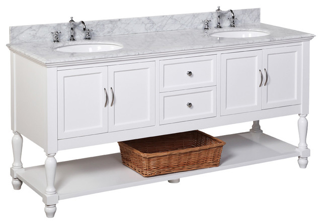 "Beach Style Bathroom Vanity Beverly 72"" Double Bath Vanity With Carrara Top - Beach"
