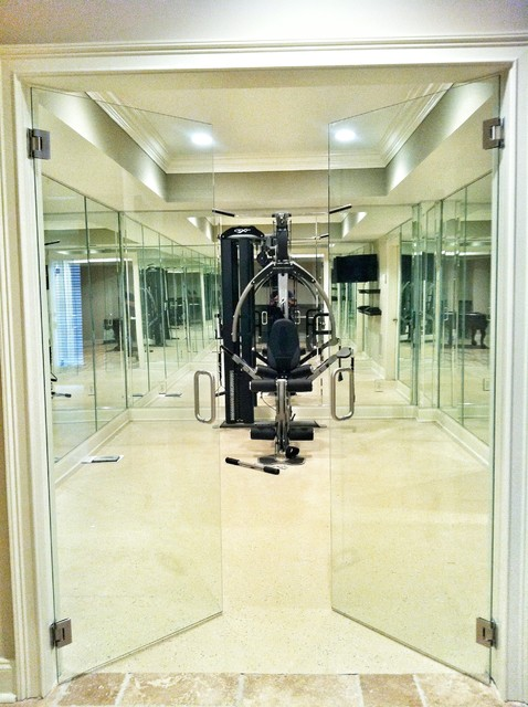 Frameless Mirror Gym Other Residential Glass Modern Home Gym Atlanta By