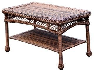 Jeco Inc Honey Wicker Patio Furniture Coffee Table