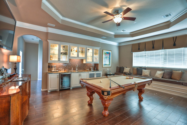 Large Mirrors Houston Game Room Addition Traditional Family Room Houston