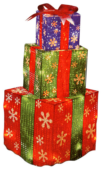 Stacked holographic present christmas yard decoration 24
