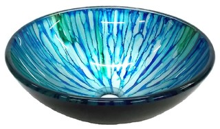 Eden Bath Blue And Green Magnolia Glass Vessel Sink