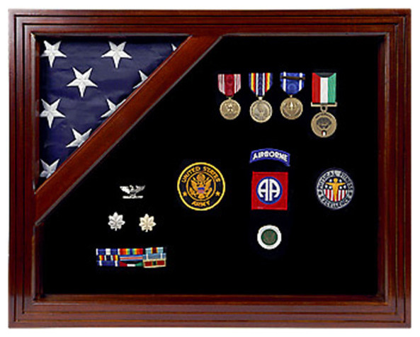 Military Award Shadow Box With Display Case For 339x539 Flag