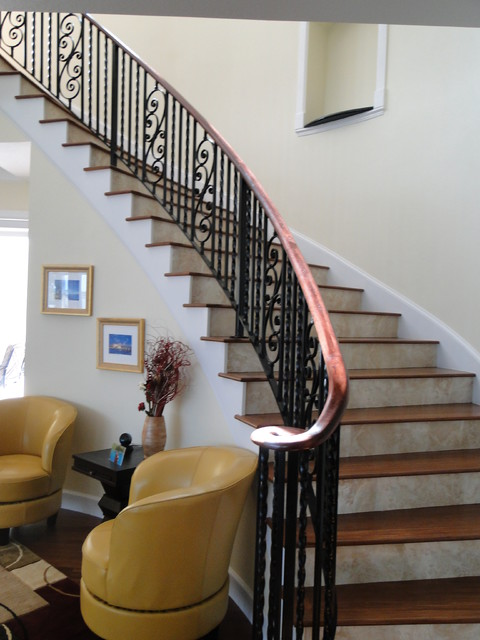 Treppen Innenraum Interior Wrought Iron Stair Rail With Lateral Scroll