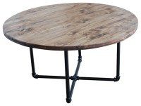 Round Industrial Coffee Table With Pipe Legs - Industrial ...