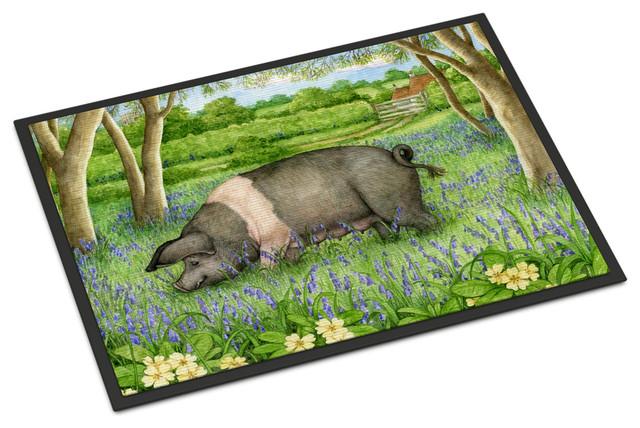 Pig In Bluebells By Debbie Cook Indoor Outdoor Mat 24quotx36