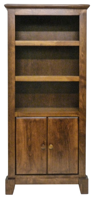 Shaker Bookcase With Lower Doors Natural Alder