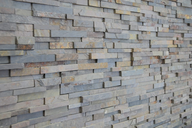 3d Wallpaper Or Wall Panel Or Wall Panels Stacked Stone Multicolor Slate Stack Stone Modern Kitchen
