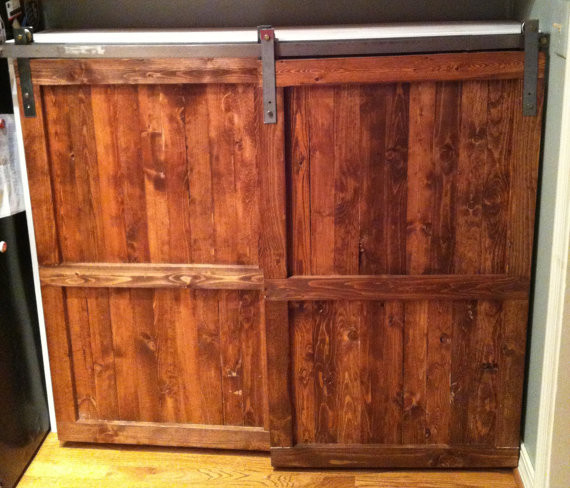 Barn Wood Kitchen Cabinet Doors Barn Door Distressed Wood Cabinet By The Yellow Peony