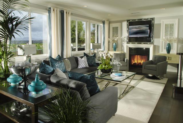 Kapalua Living Room - gray couch living room