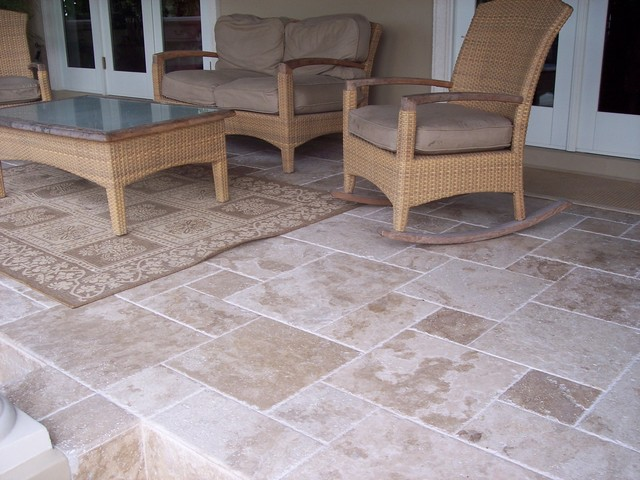 Roman Blend Travertine Tiles Traditional Patio Tampa