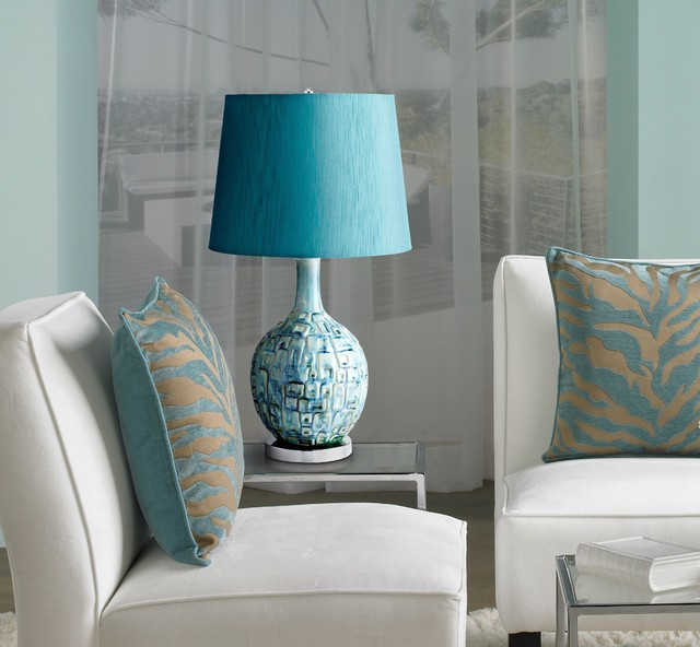 Jordan Teal Ceramic Table Lamp - Contemporary - Living Room - New - lamp tables for living room