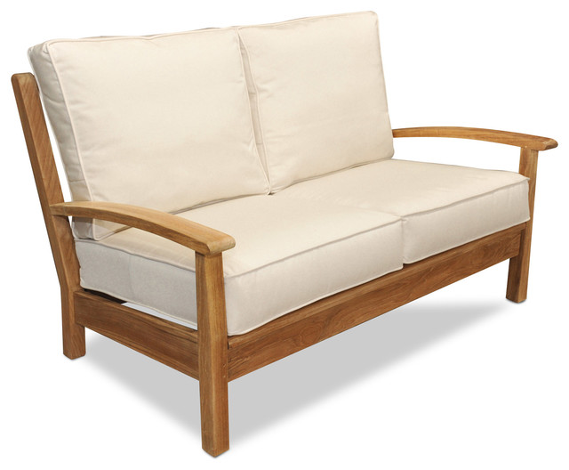Teak Deep Seating Love Seat With Cushions Contemporary