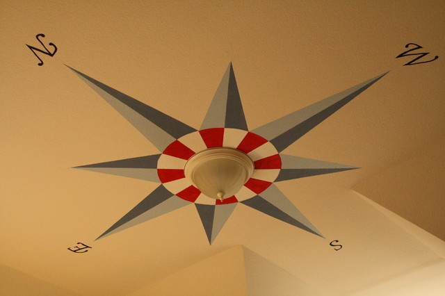 Toddler Boy's Nautical Bedroom / Ceiling Compass Mural