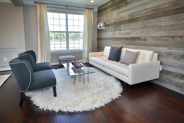 Modern Living Room \/ Reclaimed Wood Wall - Contemporary - Living - wood wall living room