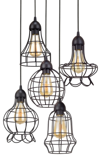 Pendelleuchten Verstellbar Revel Wyatt Rustic Adjustable Cage Metal Multi-pendant