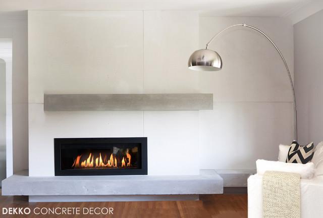 Custom Lightweight Concrete Mantel Modern Living Room Toronto By Dekko Concrete Decor