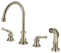 Two Handle Kitchen Widespread Faucet With Spray, Polished ...