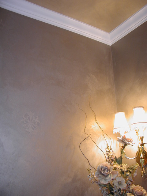 Champagne Wallpaper Troweled Metallic Plaster Powder Room Ceiling And Walls