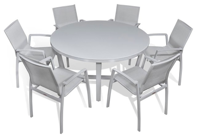 Outdoor Patio Furniture Aluminum Gray Frosted Glass Round