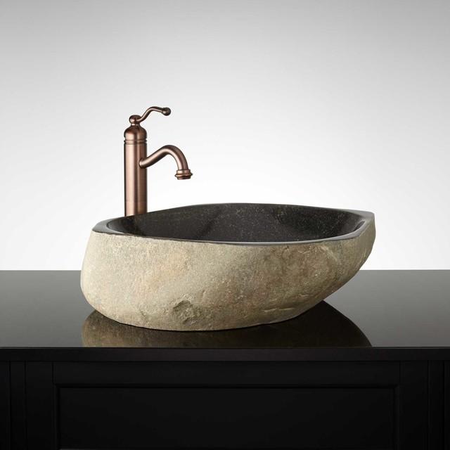 Schoborg River Stone Vessel Sink Modern Bathroom Sinks