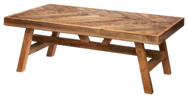 Herringbone Coffee Table With Farmhouse Style Legs