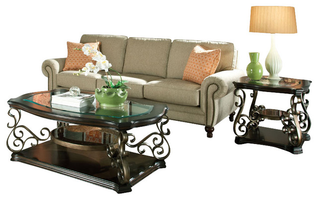 Standard Furniture Seville 3-Piece Coffee Table Set with Burnished - 3 piece living room table set