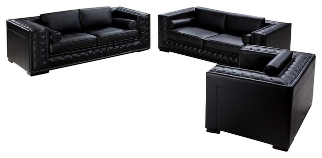 Dublin Black Top Grain Leather 3 Piece Sofa Set With Tufted Design - 3 piece living room furniture set