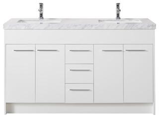 Lotus 60quot White Double Sink Bathroom Vanity Contemporary