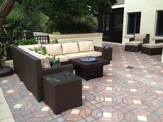 Rattan Lounge Vegas Outdoor Furniture Set With Gas Fire Pit