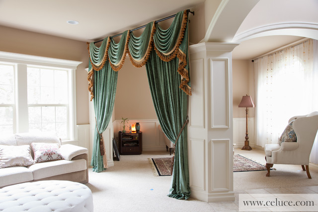 Green Chenille Swag Valance Curtains by celuce - Modern - modern valances for living room