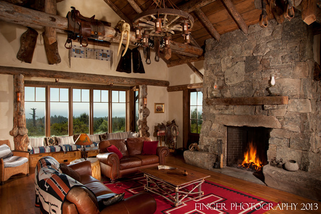 Log Cabin Living Room - Traditional - Family Room - San Francisco - log cabin living rooms