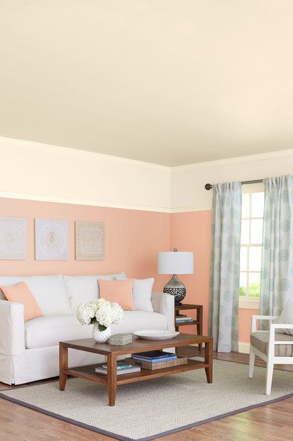 Peach \ Gray - Transitional - Living Room - Charlotte - by Loweu0027s - peach living room