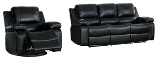 2 Piece Oswood Double Recliner Sofa W Cup Holders Swivel
