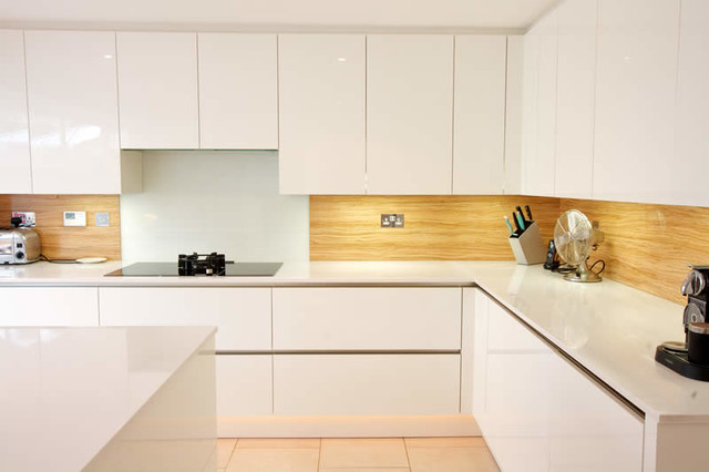Installing Pendant Lights Kitchen Island Almond Wood Kitchen Splashback - Contemporary - Kitchen