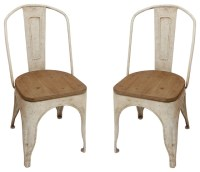 Metal Chairs with Vintage Wood Seat, Set of 2 - Farmhouse ...