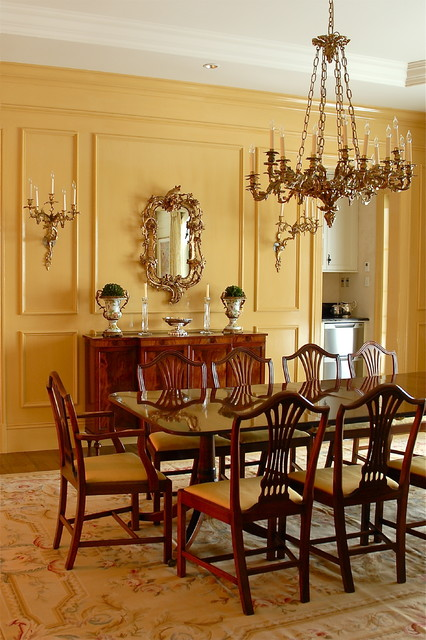 Bathroom Chandeliers Dining In Mustard - Traditional - Dining Room - Montreal