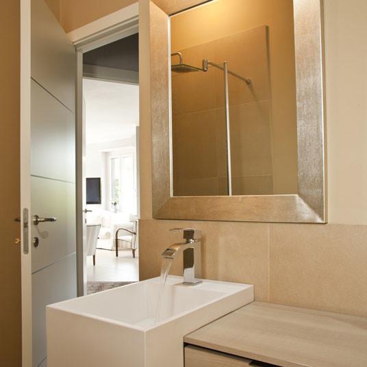 Custom golden silver framed bathroom mirror